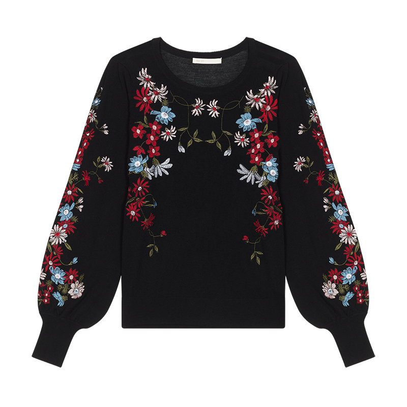 Jumper with flowers embroideries - Knitwear - MAJE